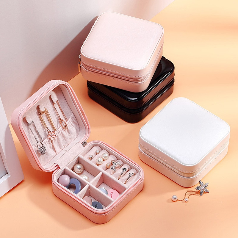 Simple and lovely single layer storage jewelry box creative portable  ear stud earrings ring small