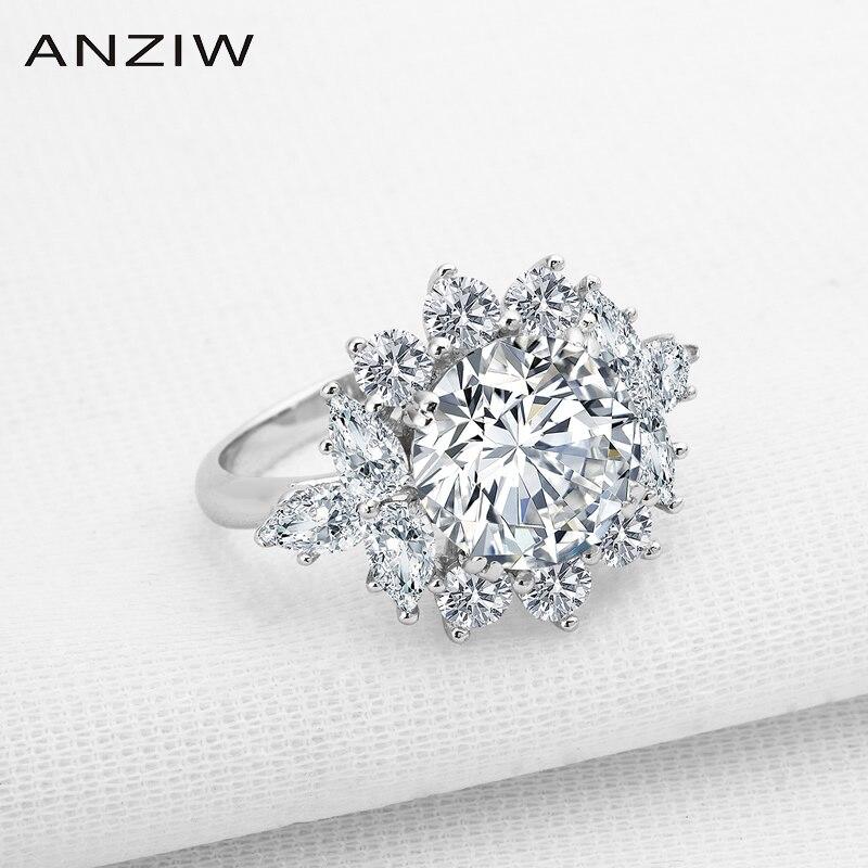 Nuevos anillos de compromiso de Plata de Ley 925 redondos brillantes rojos y blancos, joyería fina de compromiso para mujer
