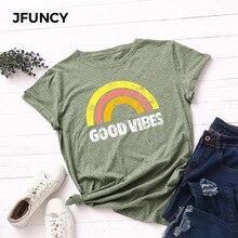 Jfonctionny 100% coton été femme T-Shirt bonne Vibes imprimer femmes T-Shirt grande taille hauts amples arc-en-ciel graphique t-shirts femmes chemises