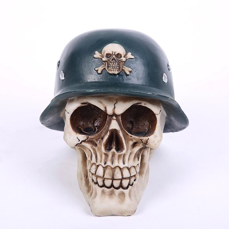Divertido casco de acero fresco calavera hucha figura creativa artesanía de resina complicado recoger Halloween Horror decoración mordaza regalos juguete