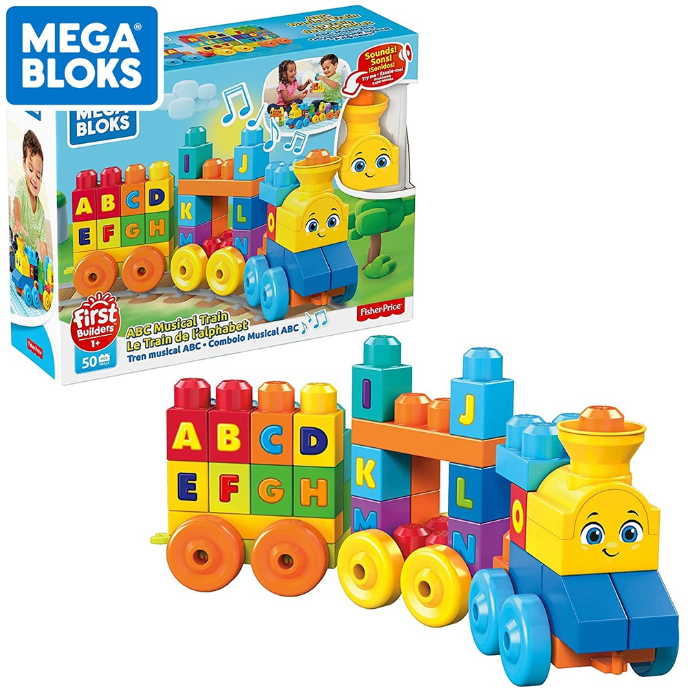 MEGA BLOKS First Builders ABC Musical Train with Big Size Building Blocks Toys For Toddlers 50pcs Letter Playset FWK22 Kid Gifts