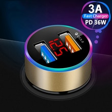 Mini Car USB Charger With LED Display Quick Charge 3.0 Type C Car-Charger For iPhone 12 11 Pro Samsu