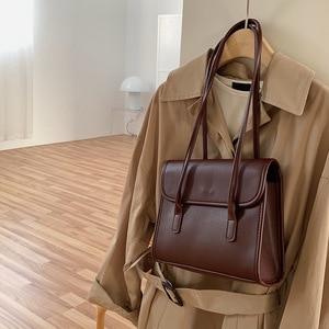 Retro Style Women's Bag Women's Briefcase School Bag Pu Material Satchel