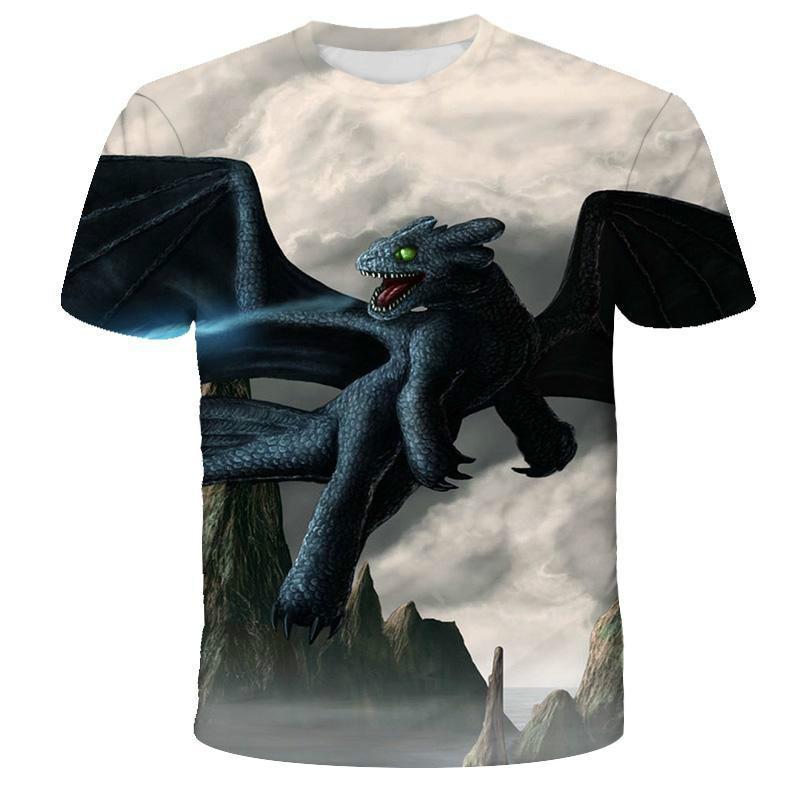 Summer mens t-shirts how to train your dragon t-shirt anime t-shirt short sleeve top fun 3D printed t-shirt Punk t-shirts