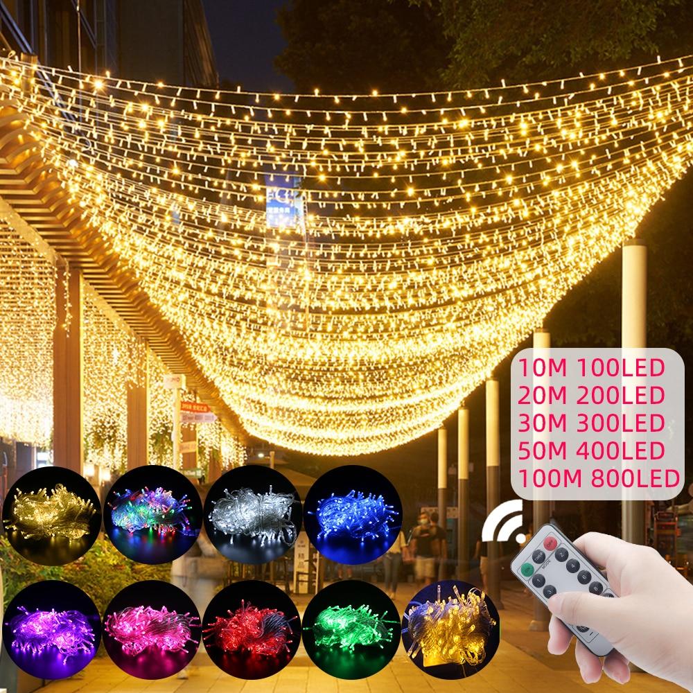 Гирлянда светодиодная уличная, водонепроницаемая лента с цепочкой для украшения дома, Рождества, свадьбы, вечеринки, сада, 10 м-100 м