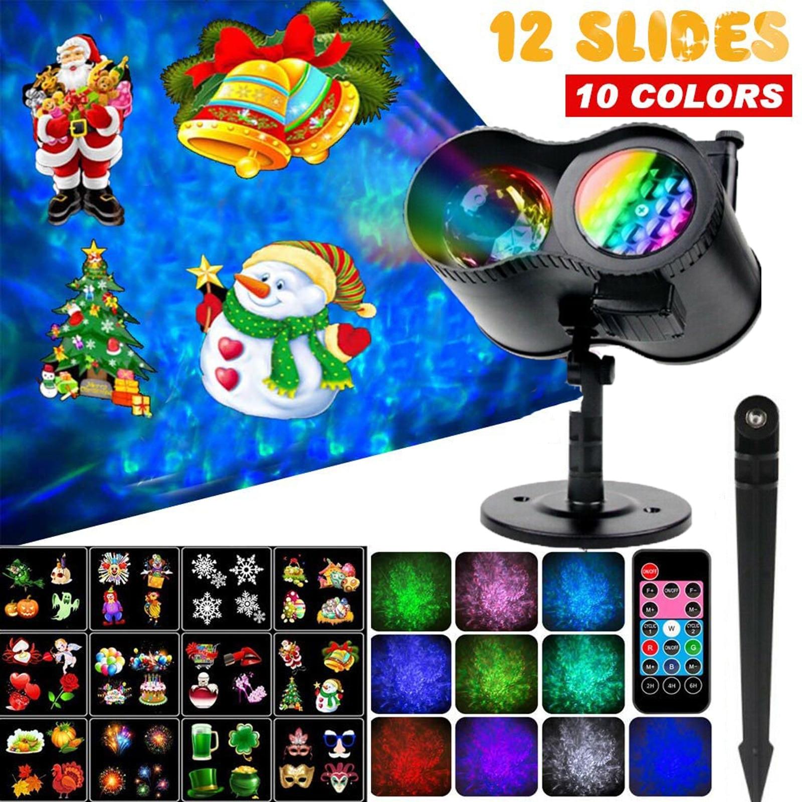 Рождественский лазерный проектор, уличный светильник, 12 слайдов, водная волна, светодиодный сценический светильник, водонепроницаемый, для...