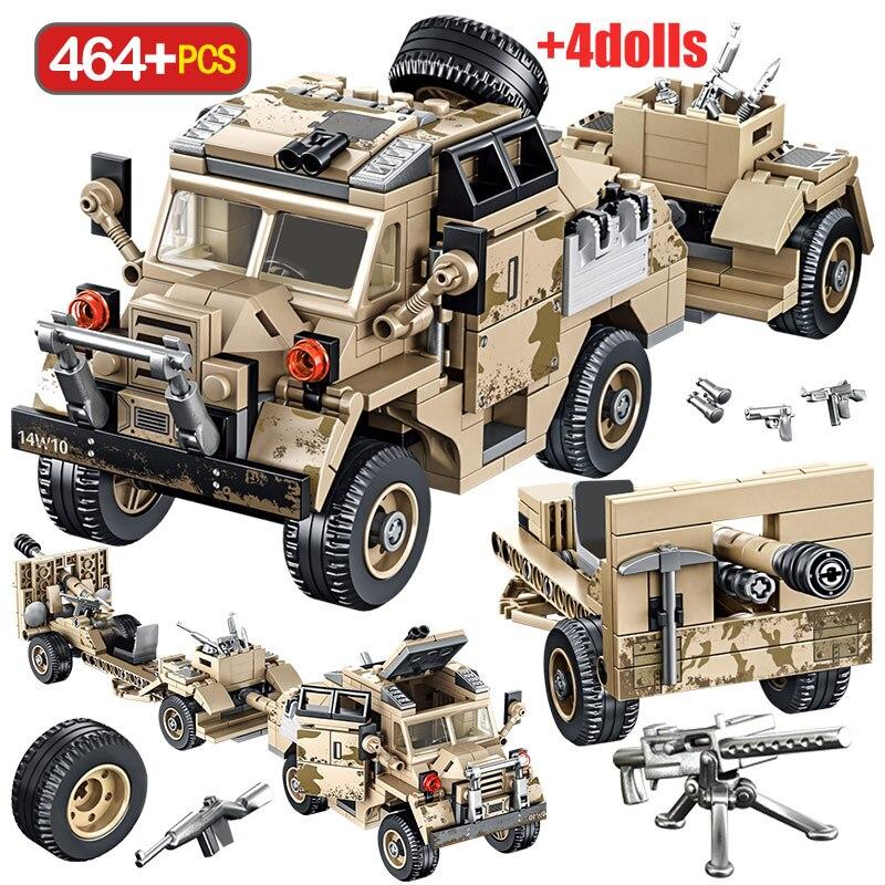 WW2 combate tren de aterrizaje, remolque, bloques de construcción, tanque militar, ciudad, camión, policía, soldado, figuras de bloques, juguetes para niños