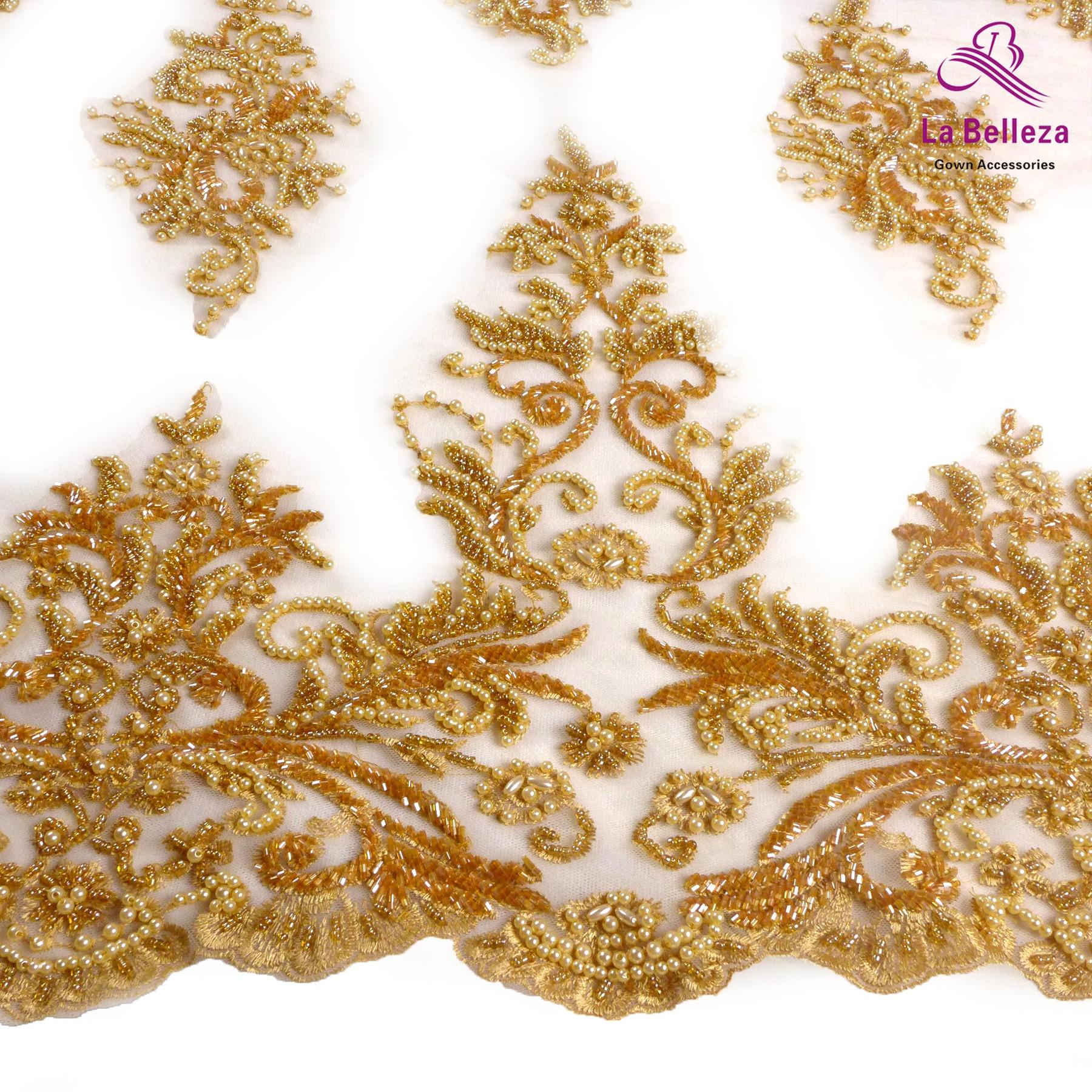 لا بيليزا الأصلي مطرز أقمشة الدانتيل ، الذهب الأرجواني العاج الأسود الثقيلة اليدوية ثوب جديد اكسسوارات 1 ياردة