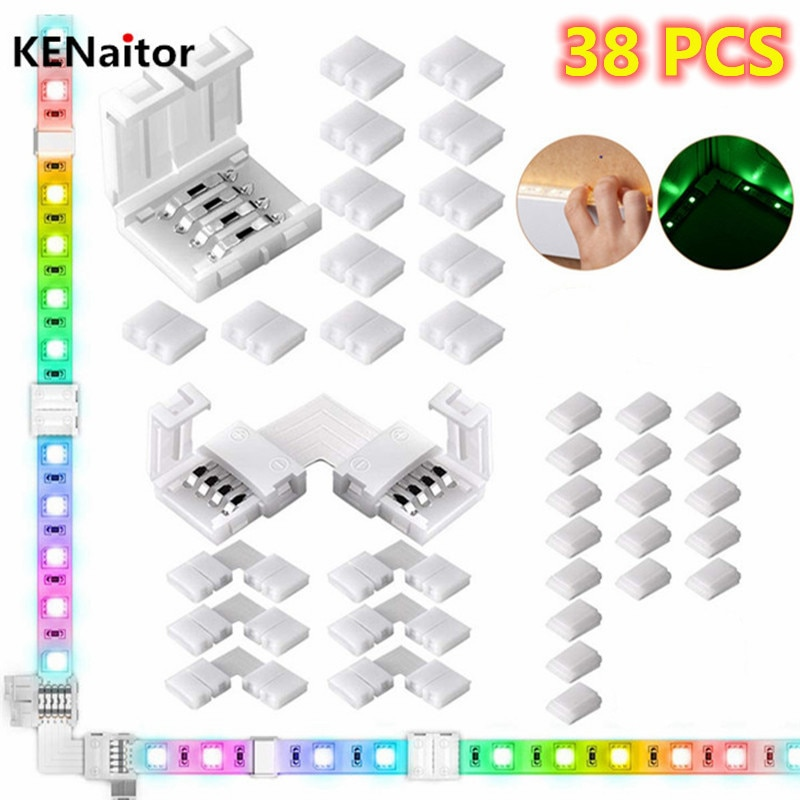 Self-adhesive Wire Bundle Holder Tie Mount Clip 4Pin 10mm RGB LED Light Strip L shape Connectors Adapter Terminal Extension
