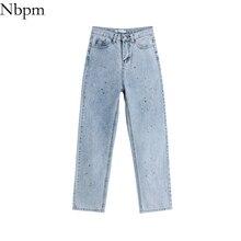 Nbpm Women 2021 Retro Fashion Paint Point Design Jeans Hip Hop Cool Girl All-Match Loose High Waist