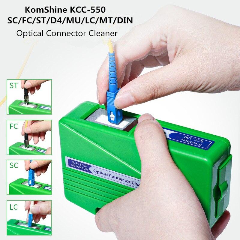 FTTH KomShine KCC-550 SC FC ST LC MU MT D4 DIN conector óptico limpiador caja de limpieza herramienta de limpieza 500 + veces verde