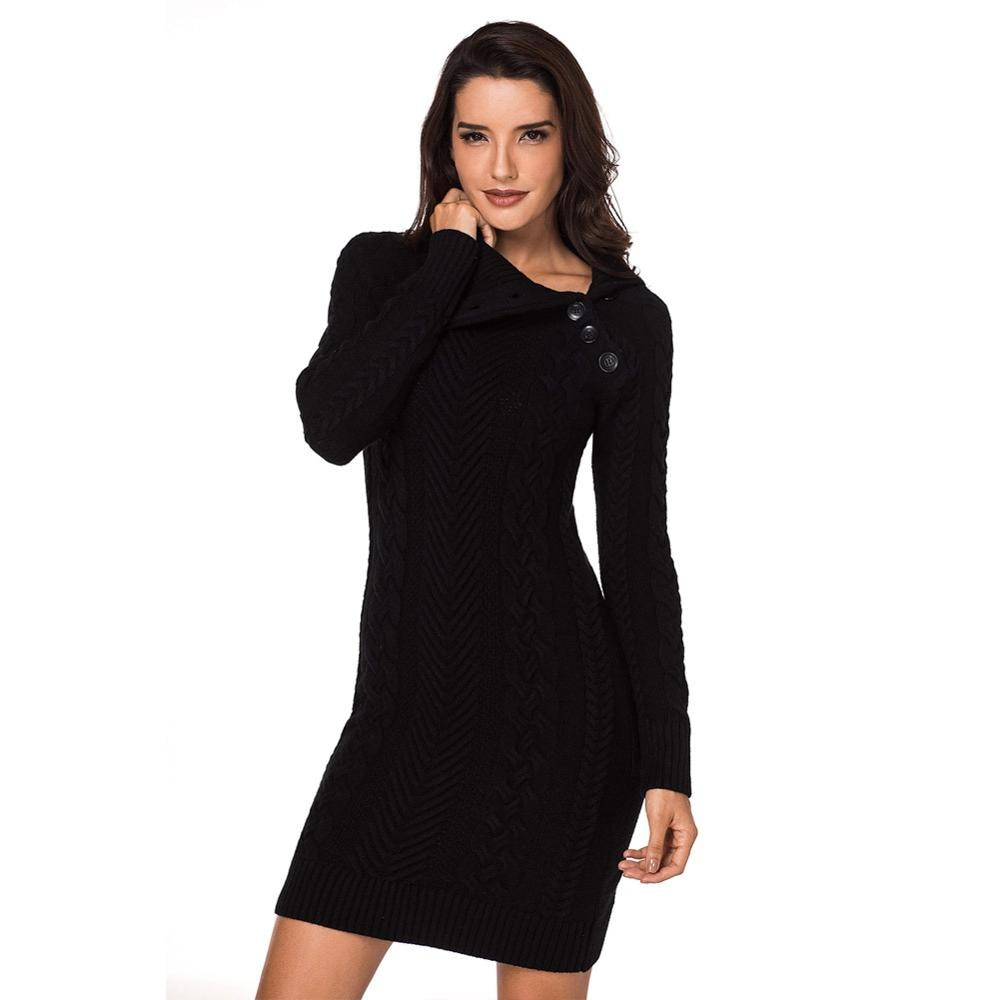 New Women'S Solid Color Lapel Long-Sleeved Ribbed Knitted Sweater Dress Fashionable Daily Commuting Wear LC27864 enlarge