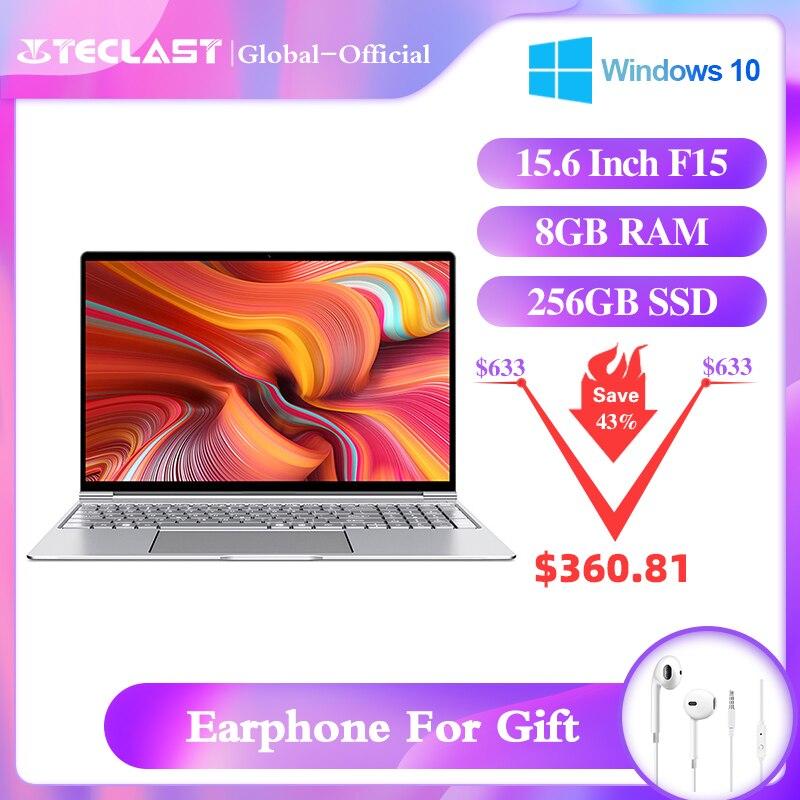 Teclast f15 portátil 15.6 Polegada notebook windows10 1920x1080 ddr4 8gb ram 256gb ssd intel gemini lago n4100 quad core hdmi duplo wi-fi