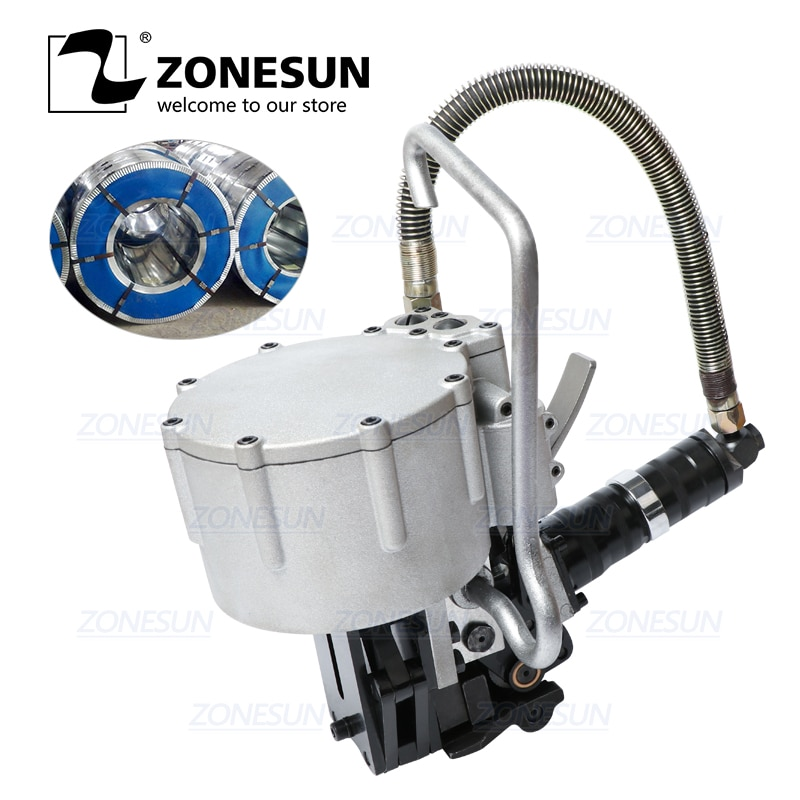 ZONESUN DB-KZ32 Automatic Pneumatic 19-32mm Steel Belt Strapping Machine Tension Cutting Packaging For Wood Steel Strapping Tool