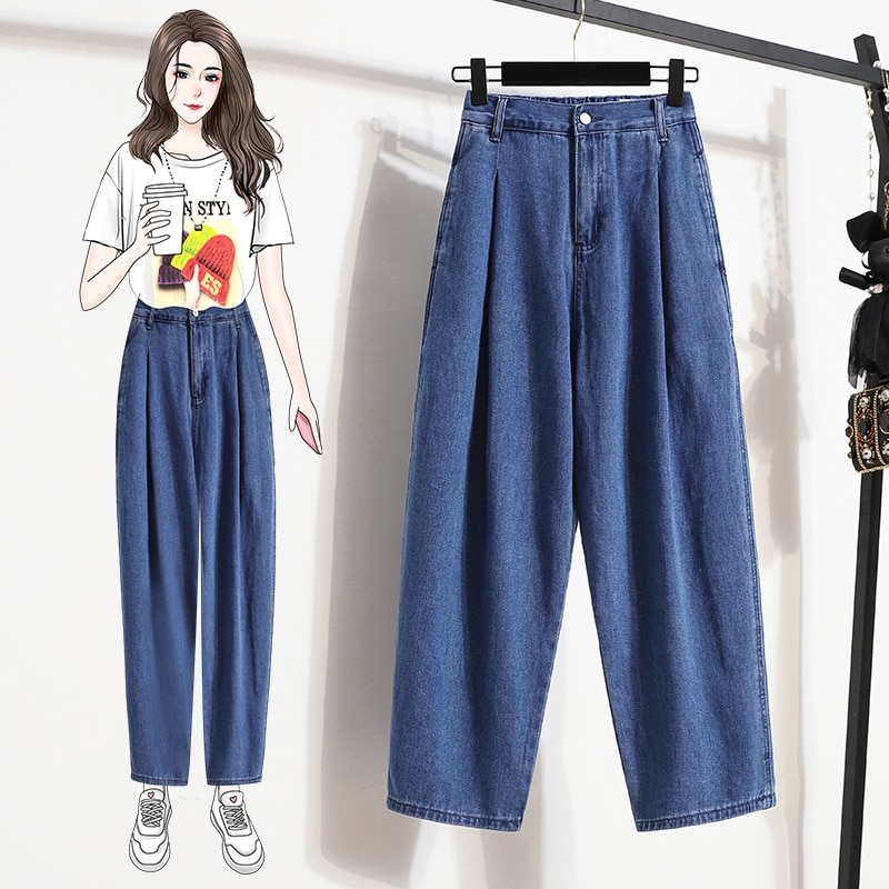 JVCAKE High Waist Jeans Plus Size 5XL Vintage Blue Style Women's Ankle Length Ripped Jeans For Women Fall 2021