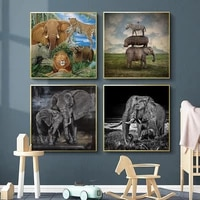 nordic canvas painting animal wall art lion elephant leopard yak zebra posters prints wall pictures for living room home decor