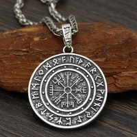 retro nordic style odin rune amulet compass pendant necklace mens high quality metal amulet jewelry