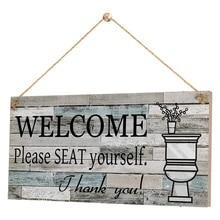 Panneau de décoration murale de salle de bain suspendu Plaque de bois signe de bienvenue bienvenue veuillez vous asseoir Art rustique pour les enfants invités