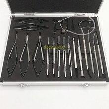 21PCS titanium alloy ophthalmic Eye Micro Cataract Set ophtalmic forceps Scissors Needle Holder