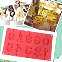 0 9 numbers shape lolli silicone mold 3d hand made sucker sticks chocolate cake jelly candy mold with sticks party decoration