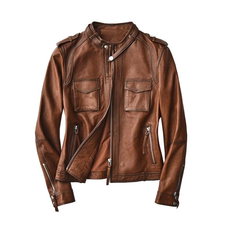 حقيقي جلد طبيعي سترة ملابس حريمي 2020 الكورية المرأة معطف الفرو Vintage الربيع الخريف جلد الغنم معطف حجم كبير 5XL الأسهم