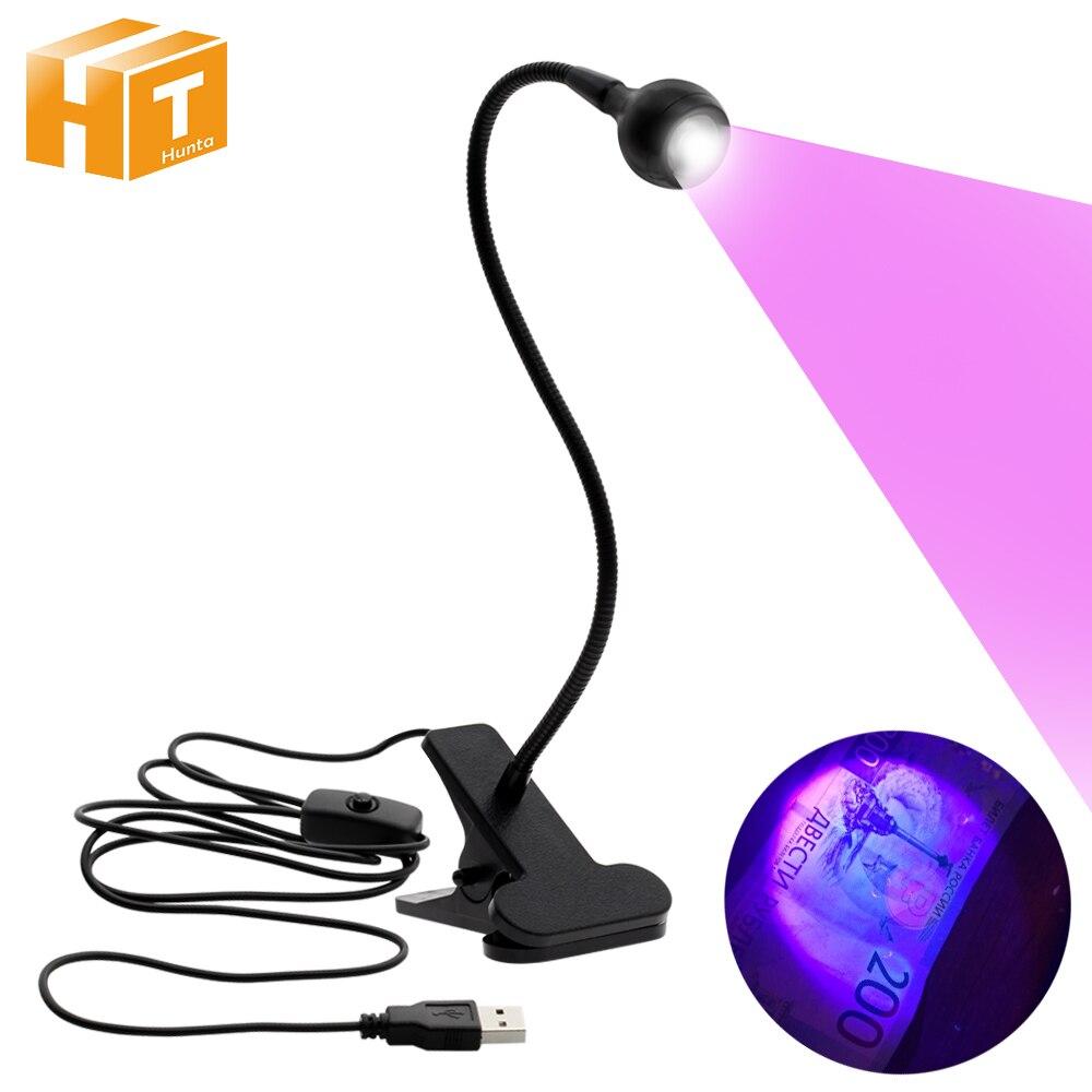Mini lampe UV à Led USB, Mini lampe UV Led lumineuse, Flexible, colle réglable, sèche-ongles, argent, détecteur de produit médical avec interrupteur