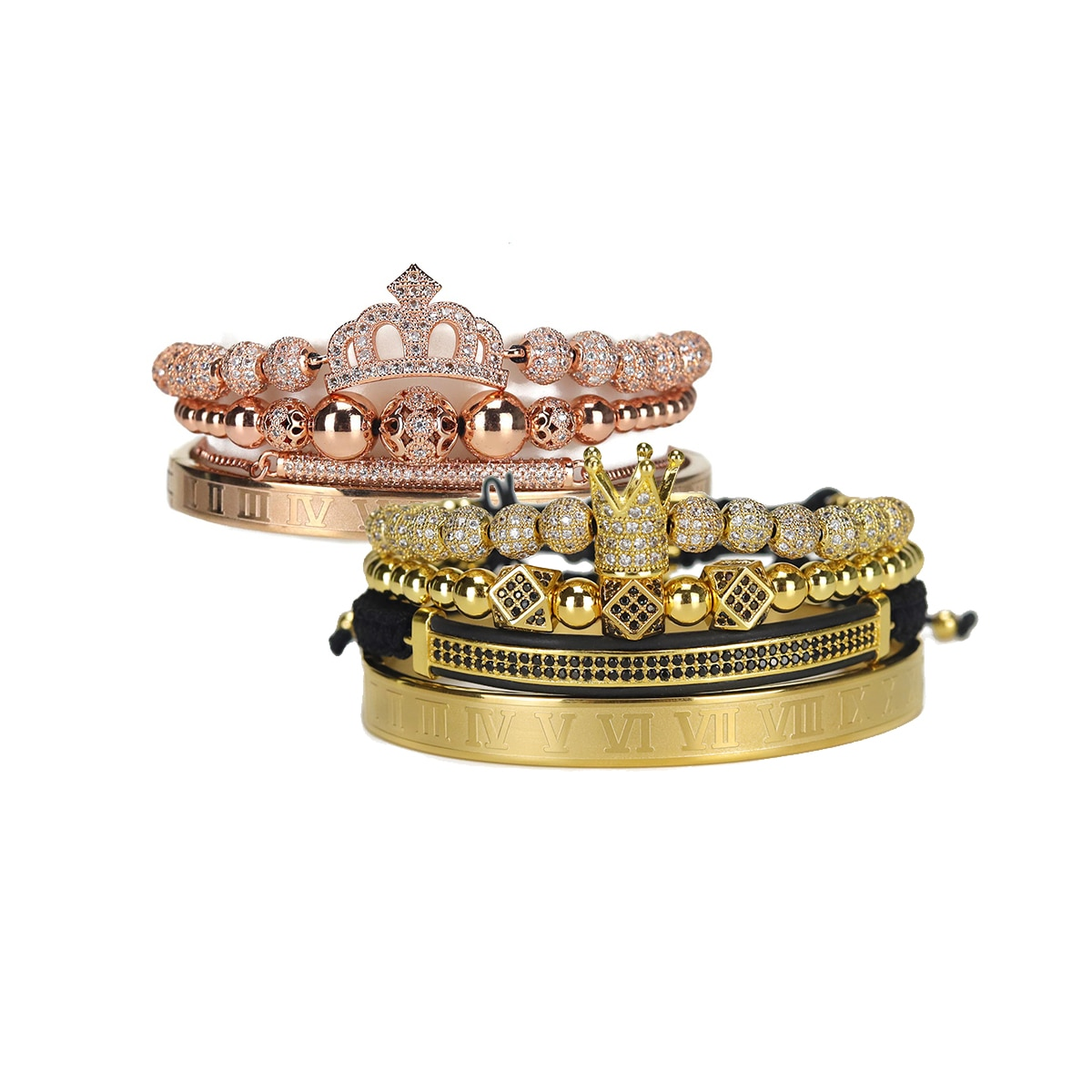 Luxury King Queen Crown Men Women Couple Lover Bracelet Stainless steel bangle CZ beads bracelets bangles for Men Women Jewelry