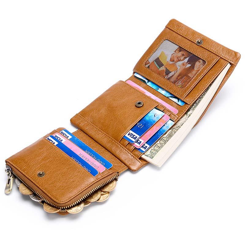 15 unids/lote RFID cartera para hombre casual retro primer abrigo piel de vaca tres veces hebilla bolsillo corto dinero clip certificado bolsa