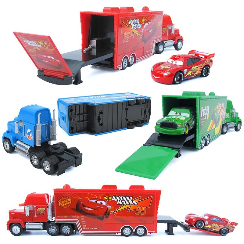 Машинки «Тачки 3 Машинки» Disney Pixar, грузовик с 3 машинками и маленькая машинка McQueen, литая под давлением модель из металлического сплава и плас...