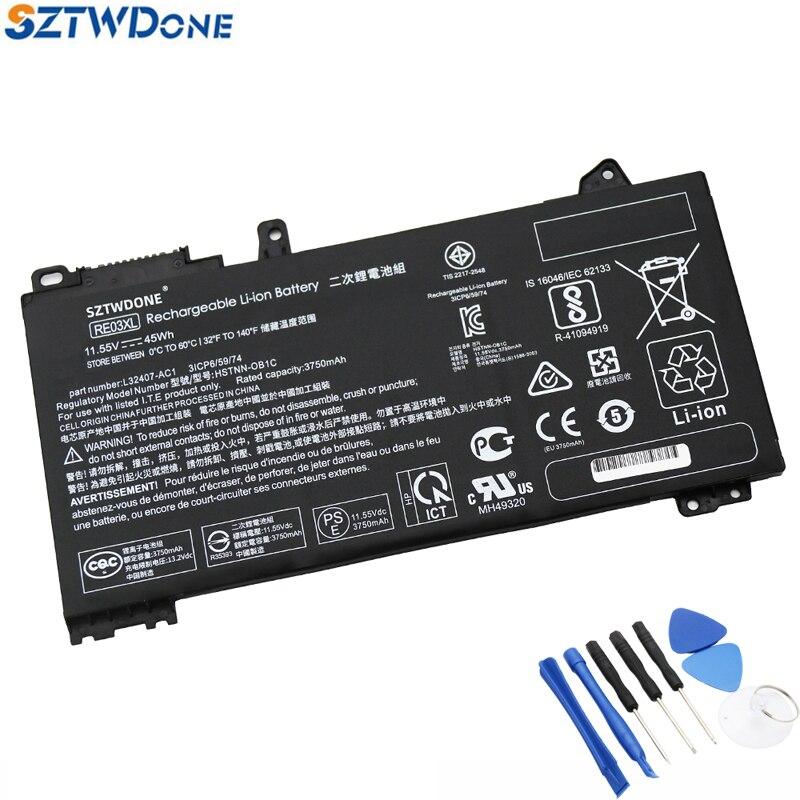 SZTWDONE RE03XL محمول بطارية لجهاز HP ProBook 430/440/450/455 G6 زان 66 برو 13/14 G2 HSTNN-OB1C/DB9A/UB7R L32656-005 L32407-2C1