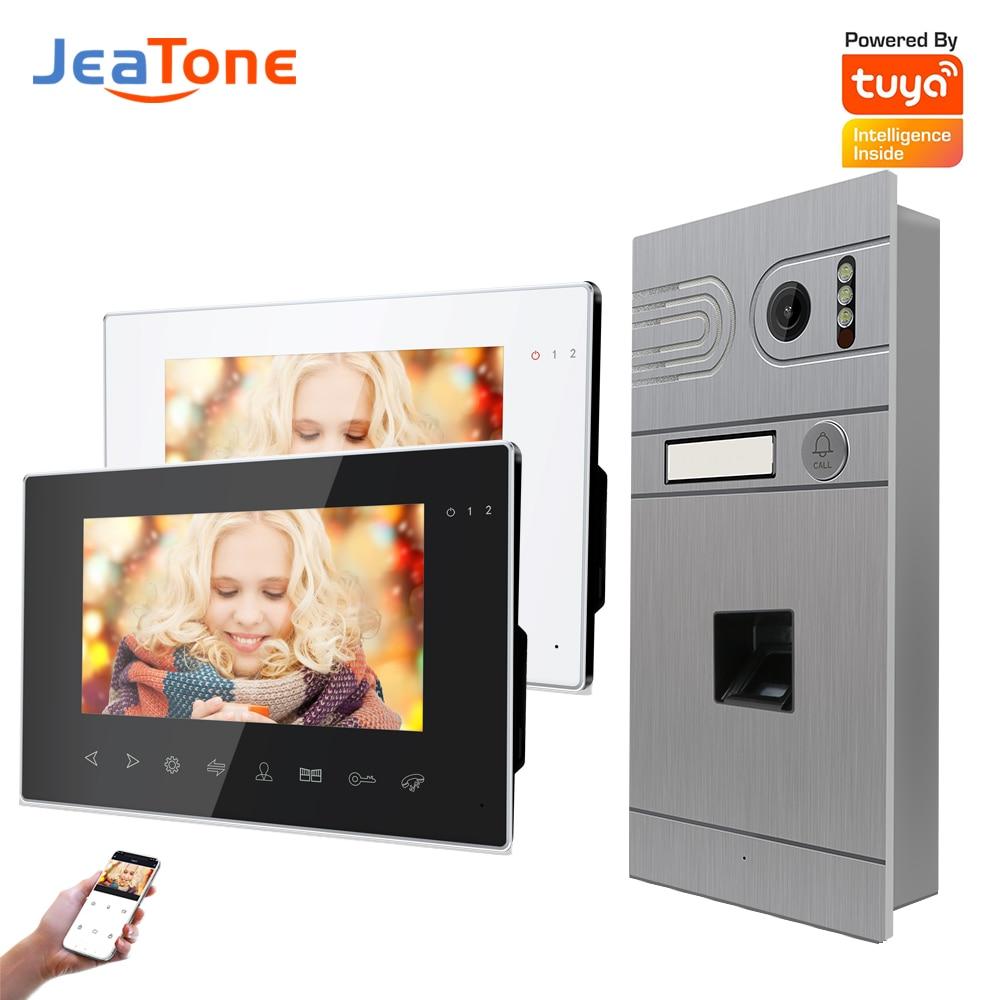 Jeatone Fingerprint Video Intercom System For Villa AHD960P With Motion Detection 120°Wild Angle Tuya Smart Video Doorphone