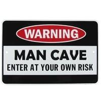 warning man cave funny embossed aluminum sign us made novelty bar pub wall decor