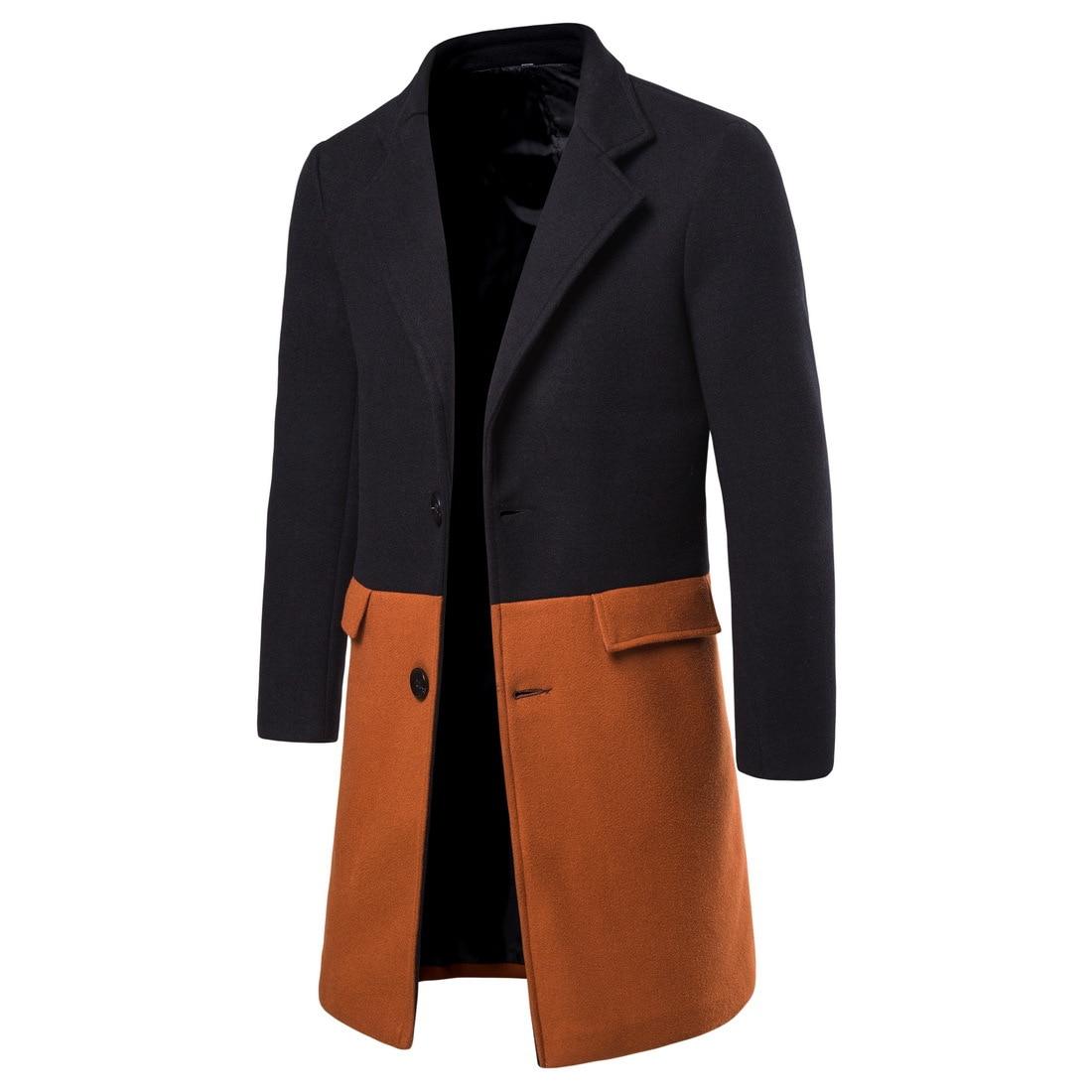Korean Autumn Men'S Coat Mandarin Collar Long Sleeve Winter Coat Men Patchwork Overcoat Men Casual Long Jacket Abrigo Hombre