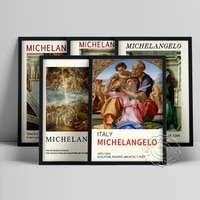 michelangelo exhibition museum poster holy family with the young saint john canvas painting delphic sibyl christian art decor