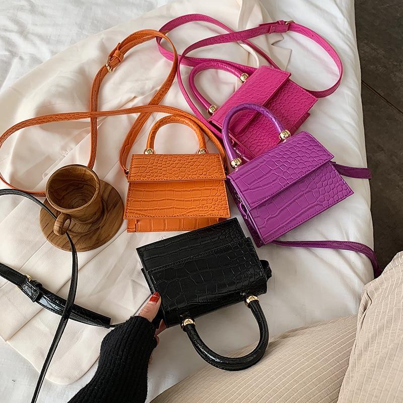 2020 Women's Small Bag Women's PU Leather Shoulder Strap Crocodile Handbag Handbag Brand Designer Evening Bag Sac A Main