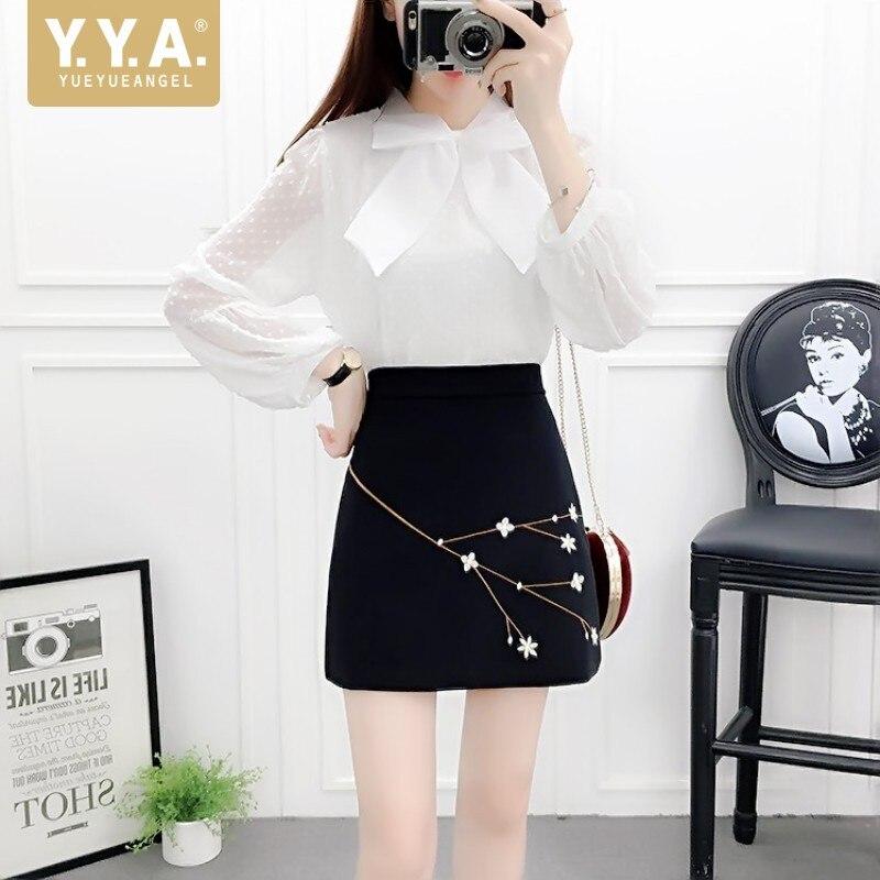 تنورة قصيرة منقطة للنساء ، تنورة عصرية مطرزة بالزهور ، مع ربطة عنق ، بلوزة مطابقة ، طقم ربيعي بأكمام طويلة