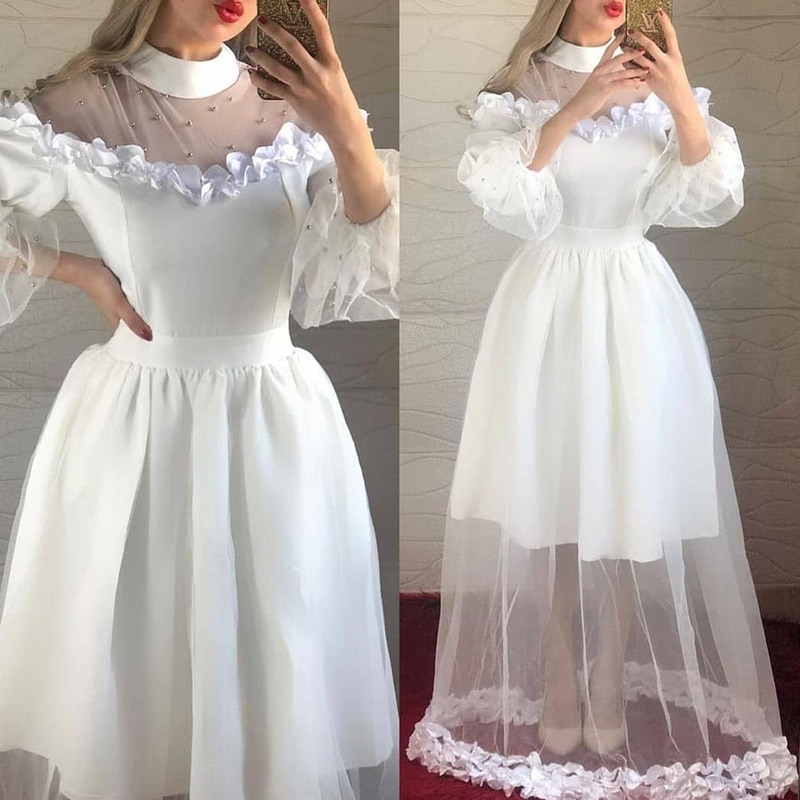 Lovely Wedding Dresses A-Line O-Neck 3/4 Puff Sleeves Tulle Satin Ruched Floor-length Pearl Cute Bridal Gowns Vestito Da Sposa