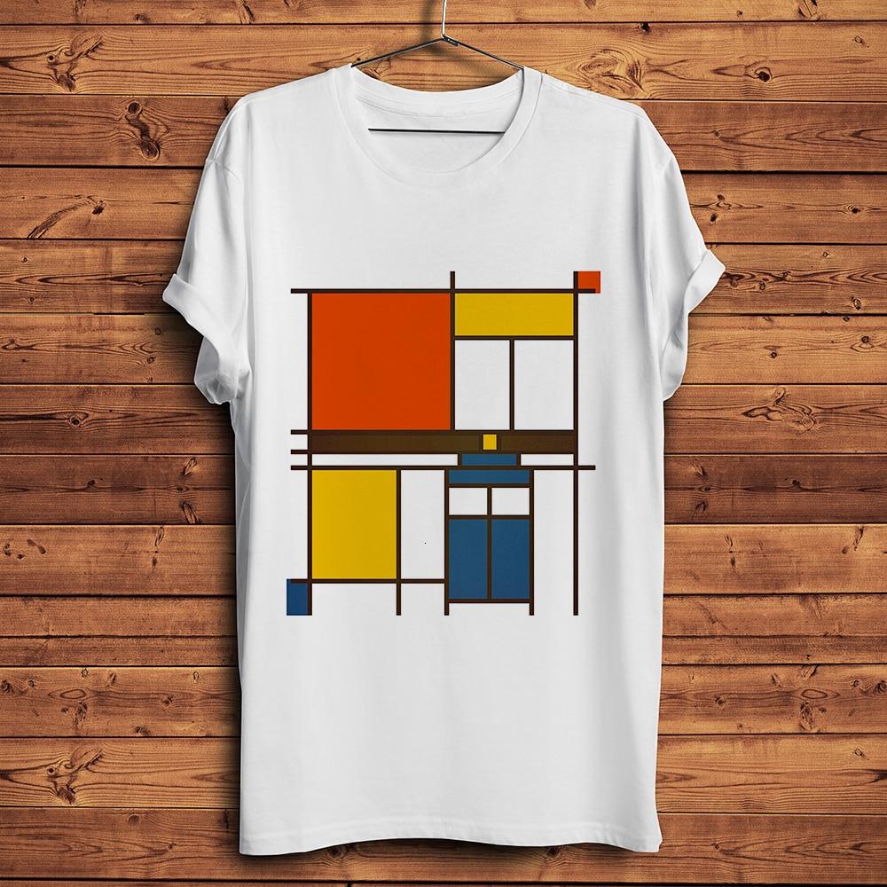 Piet Mondrian neopicism artist Футболка мужская летняя новая белая Повседневная homme cool унисекс уличная футболка