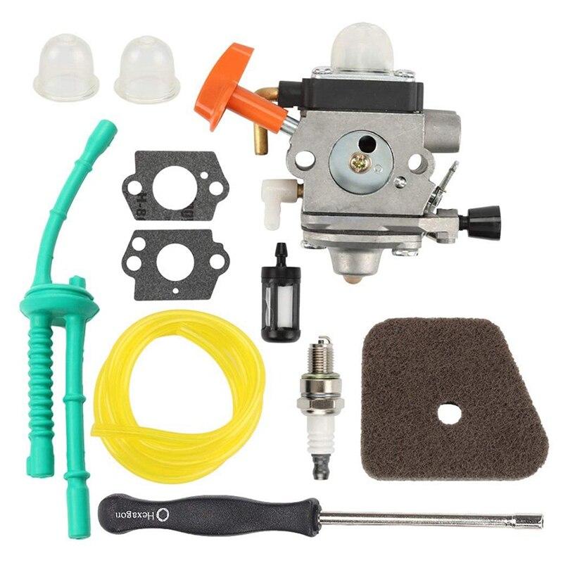 Carburador FS100 C1Q-S174 + filtro de aire + herramienta de ajuste + línea de combustible para STIHL FS87 FS90 FS100 FS110 FS130 HL90 HL95 HL100 HT100