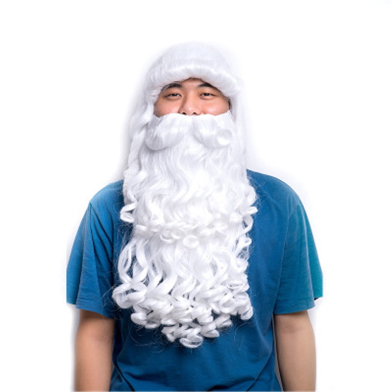 Santa Claus Beard Wig Long White Wavy Set Fancy Hairpiece Xmas Cosplay Costume Wigs Christmas Festival Gifts