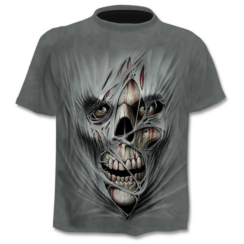 Camiseta Skull de esqueleto para hombre, camiseta Punk 3D, camiseta de pistola, Camiseta con estampado 3d, ropa Vintage para hombre, tops de verano de talla grande 6XL