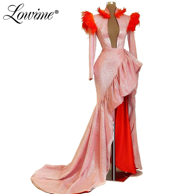 Sparkly Pink Deep V Neck Full Sleeves African Prom Dresses Long 2020 Pageant Party Dress Aibye Dubai Arabic Feather Evening Gown