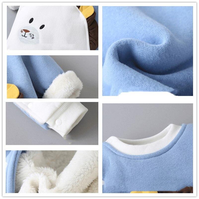 Outong Autumn Winter Baby Girl clothes Cartoon Cotton Jumpsuits Plus Velvet One-piece Suit Newborn Romper Kids Clothes