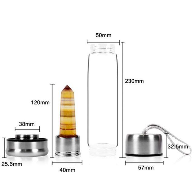 Natural Crystal Column Glass Water bottle Women Girl Cute Kawaii Spa Energy Cups Insulation Sports Glass Tea Cup 2021Hot Sale 4