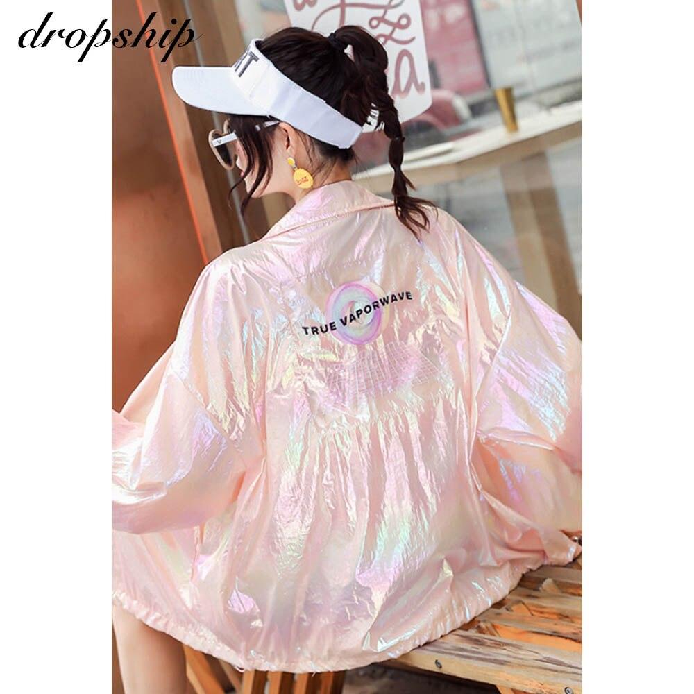 Mulheres coreano jaqueta de proteção solar longa harajuku roupas branco rosa topos dropship blusão reflexivo solto fino kpop
