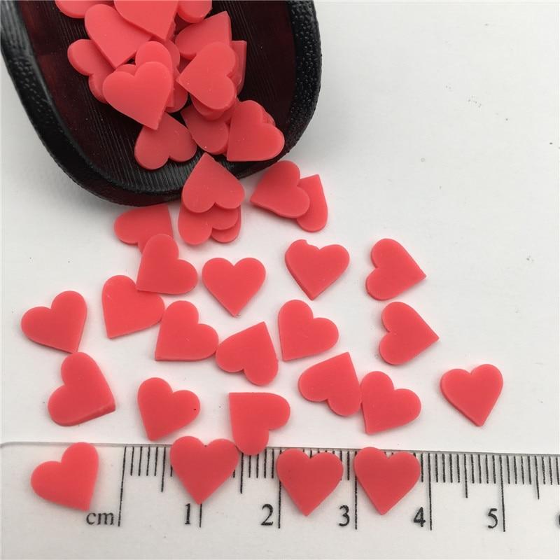 50g 10mm corazón polímero arcilla espolvorear para chico Diy, arcilla suave para arcilla para artesanías/Nail Art/decoración para Scrapbook DIY/Filler