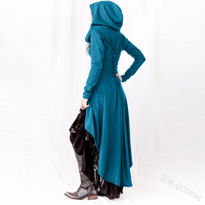 Medieval Costume Hooded Women Gothic Coat Black Punk Ladies Steampunk Uniform Coat Victorian Stylish High Low Hem Trench Outwear