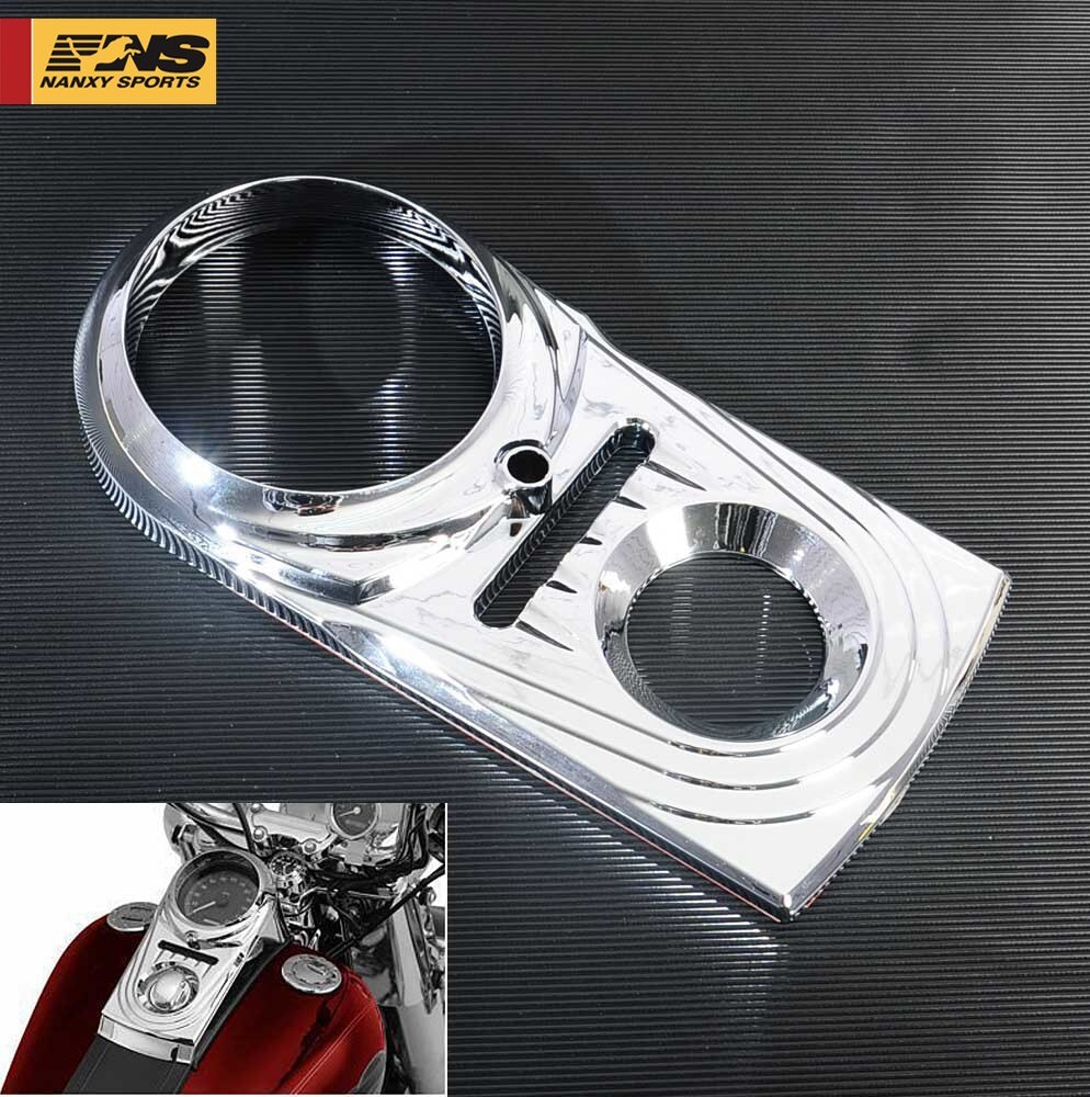Cromo de Panel de salpicadero insertar recorte cubierta caso para Harley Softail FXDWG Dyna Wide Glide FLS FXS puño FXST FXSB
