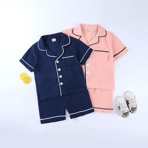 Boys and girls pajamas set short-sleeved soft cotton and linen toddler baby pajamas kids clothes pajamas children's clothing