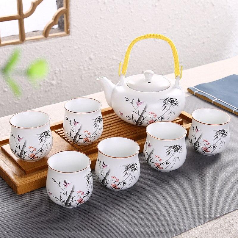 7 pçs porcelana artesanal esmalte cor kung fu conjunto de chá zen chá saúde teaset grande capacidade bule bule café pot & copos de café